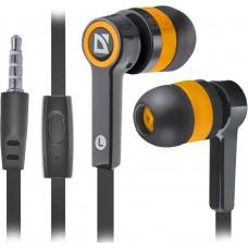 Наушники + микрофон Defender Pulse 420, чёрный+оранжевый