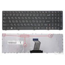 Клавиатура для Lenovo B570, B580, V570, Z570 черная с черной рамкой