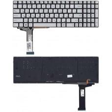 Клавиатура для Asus N551, N751, N552 серебристая с подсветкой