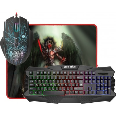 Игровой набор Defender Death Knight MKP-007 мышь + клавиатура + ковер
