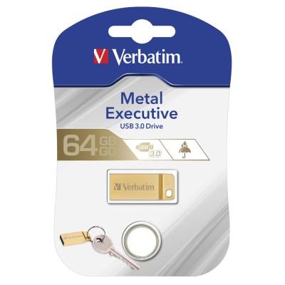 USB Flash Drive 64Gb Verbatim (METAL EXECUTIVE GOLD) USB3.0 (99106)