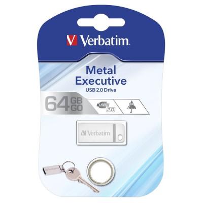 USB Flash Drive 64Gb Verbatim (METAL EXECUTIVE SILVER) USB2.0 (98750)