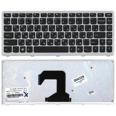 Клавиатура для Lenovo IdeaPad U410 черная с серебристой рамкой